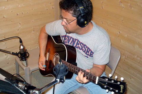 Brent Mason completing some acoustic guitar overdubs for a CD project.